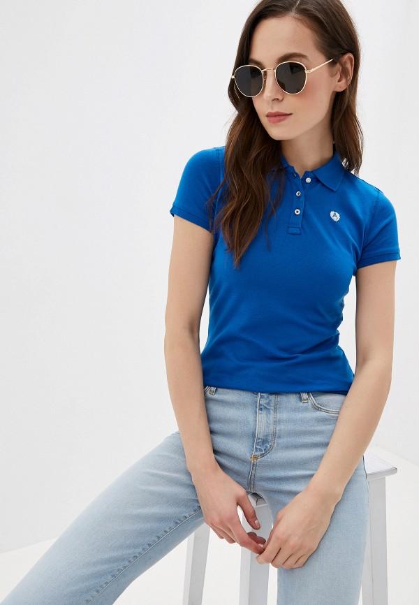 женское поло alcott, синее
