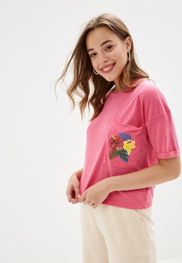 женская футболка alcott, розовая