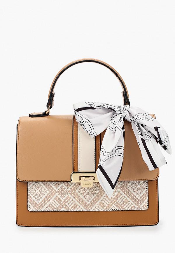 женская сумка с ручками aldo, бежевая
