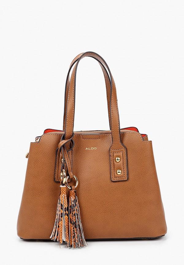 женская сумка с ручками aldo, коричневая