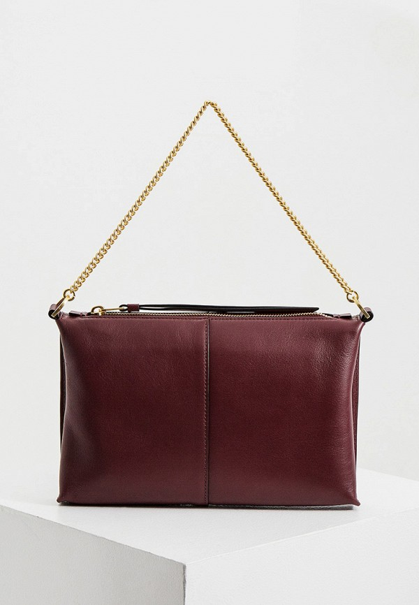 женская сумка с ручками allsaints, бордовая
