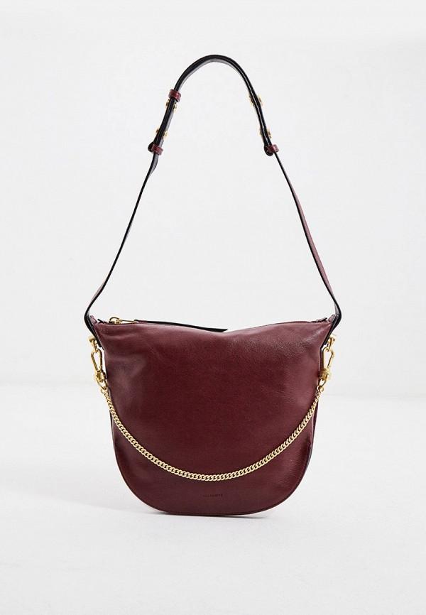 женская сумка allsaints, бордовая