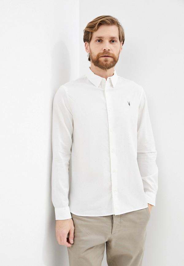 мужская рубашка с длинным рукавом allsaints, белая