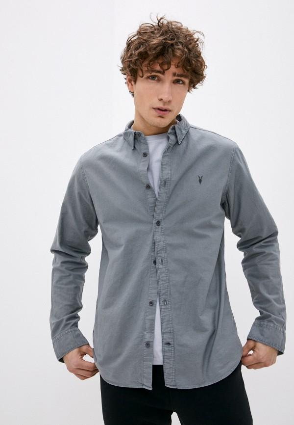 мужская рубашка с длинным рукавом allsaints, серая