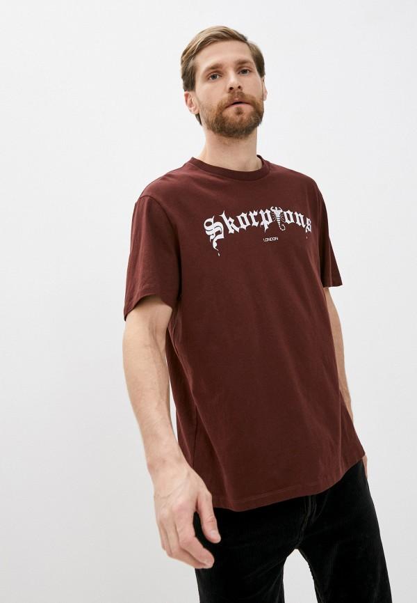 мужская футболка allsaints, коричневая