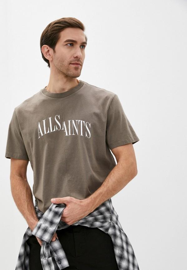 мужская футболка allsaints, хаки