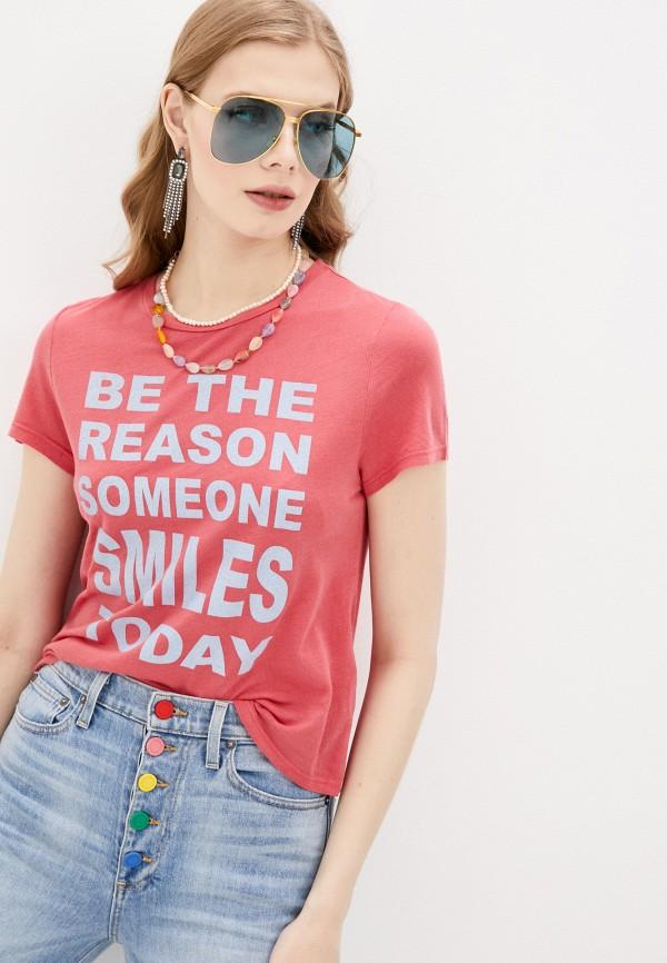 женская футболка alice + olivia, розовая
