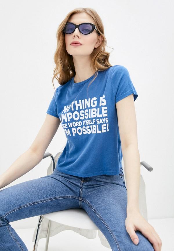 женская футболка alice + olivia, синяя
