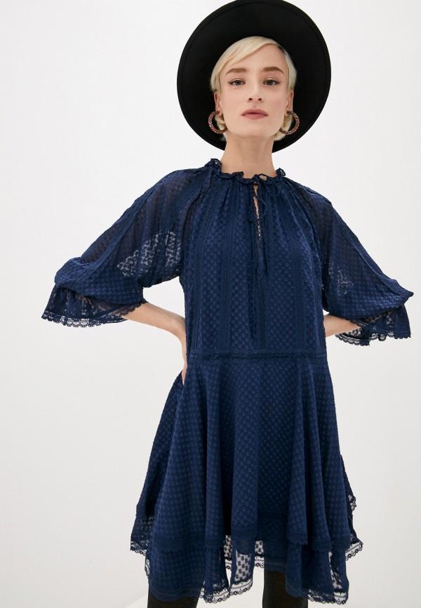 женское повседневные платье alice + olivia, синее