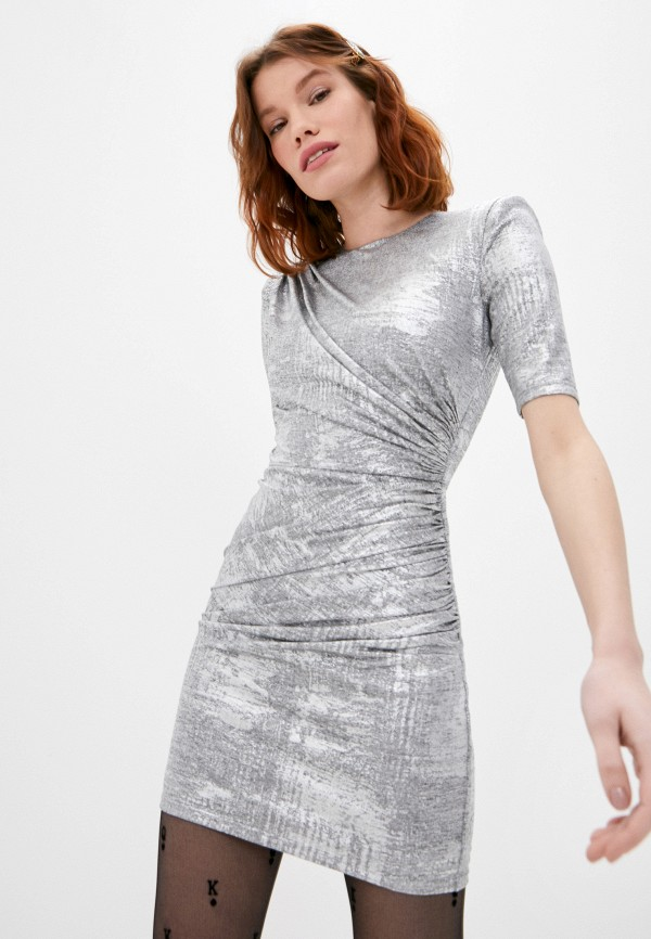 женское вечерние платье alice + olivia, серебряное