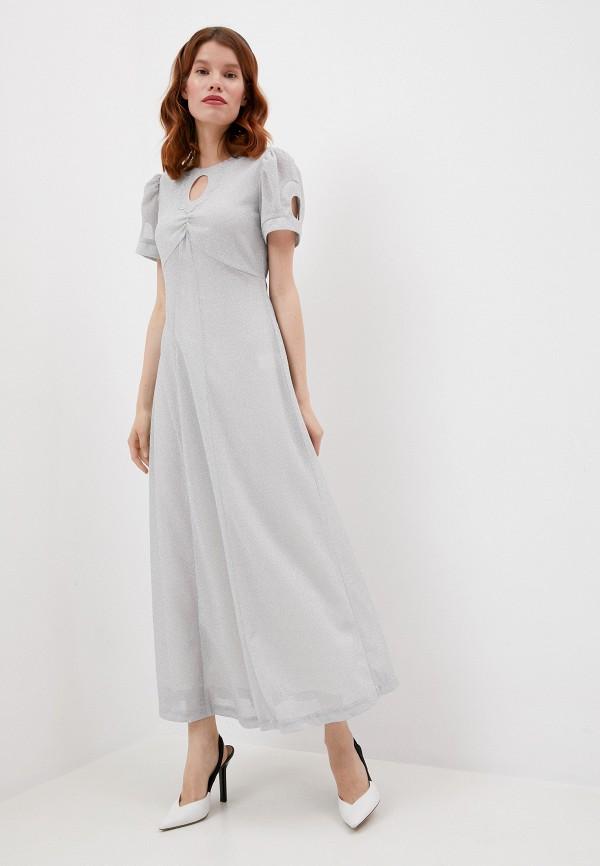 женское вечерние платье alexachung, серебряное