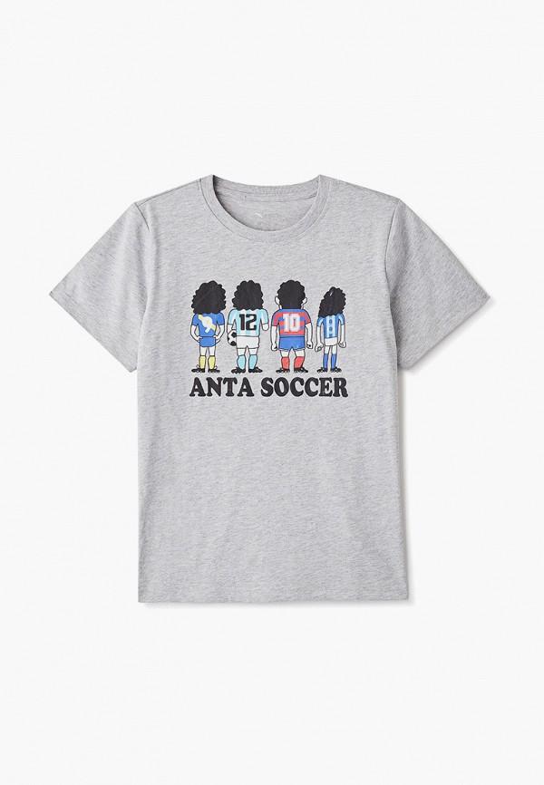 футболка с коротким рукавом anta для мальчика, серая
