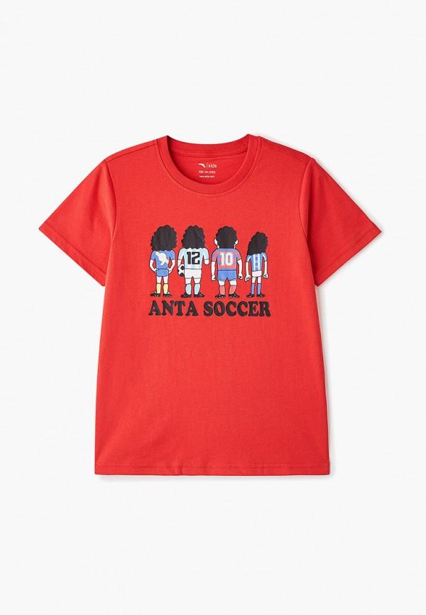 футболка с коротким рукавом anta для мальчика, красная