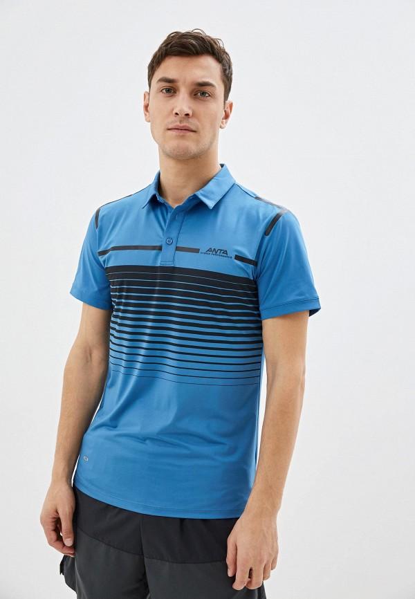 мужское поло anta, голубое