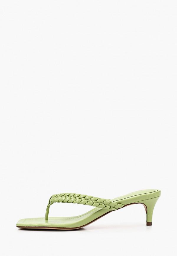 женское сабо arezzo, зеленое