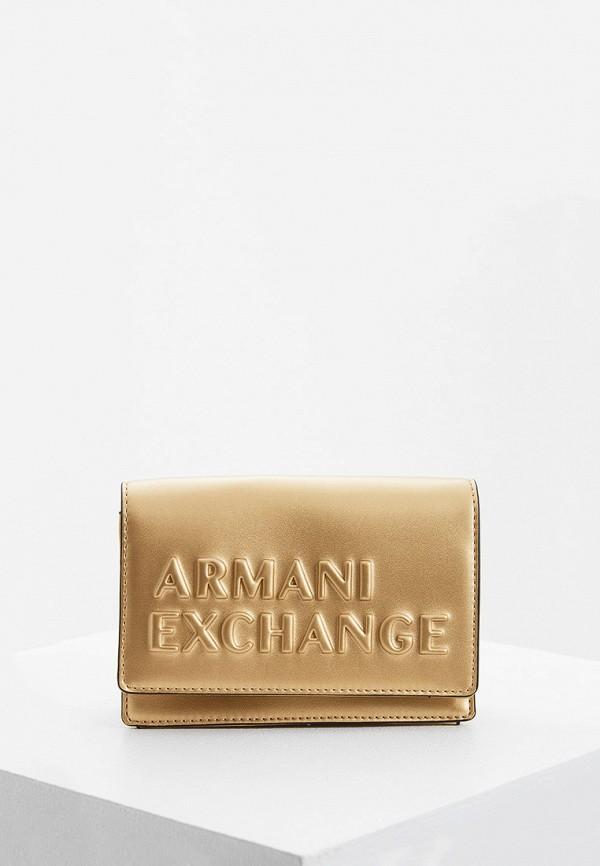 женская сумка armani exchange, золотая