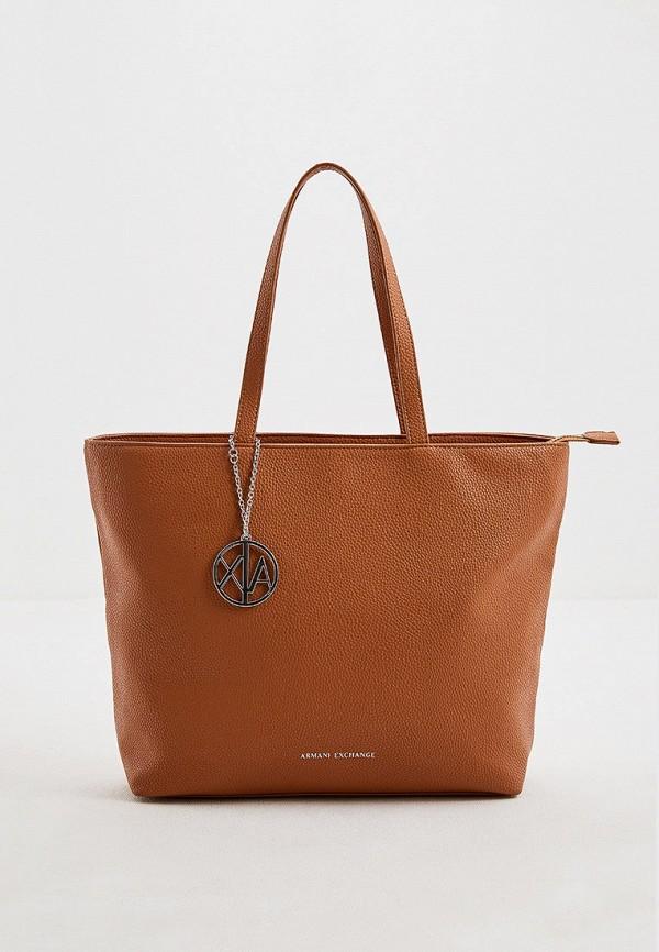 женская сумка-шоперы armani exchange, коричневая