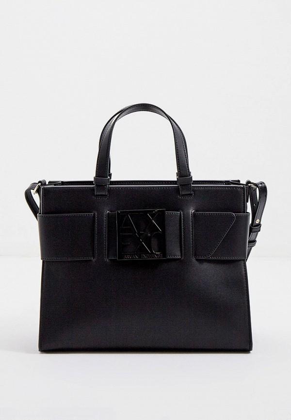 женская сумка с ручками armani exchange, черная