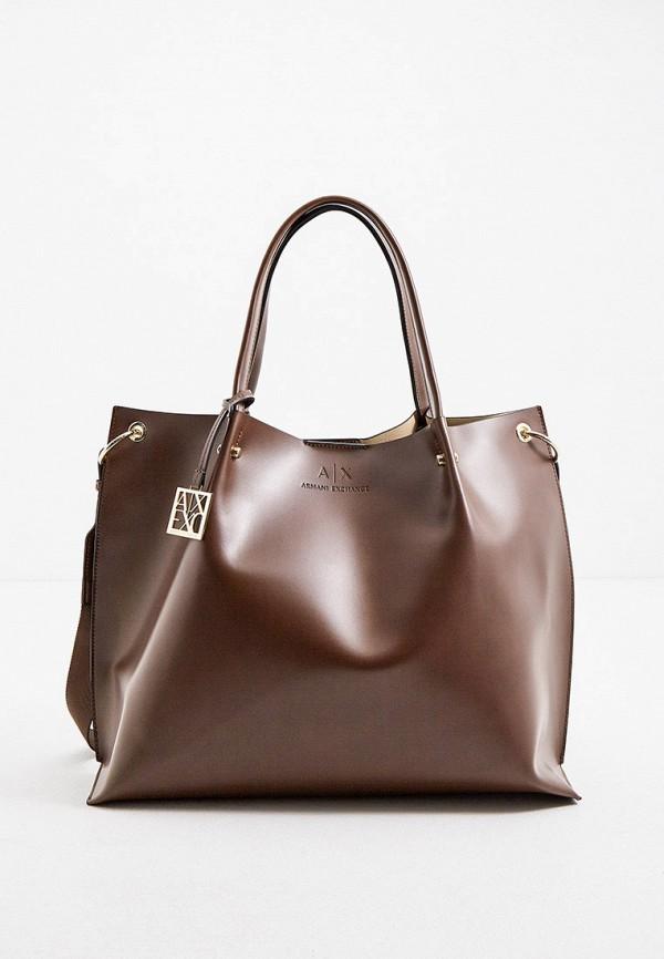 женская сумка armani exchange, коричневая