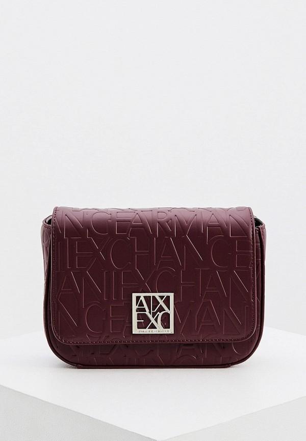 женская сумка armani exchange, бордовая