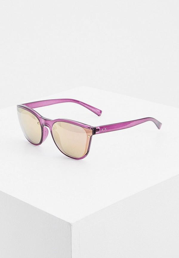 женские солнцезащитные очки кошачьи глаза armani exchange, фиолетовые