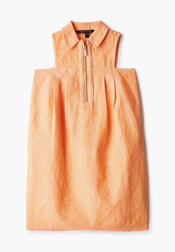 повседневные платье armani exchange для девочки, оранжевое