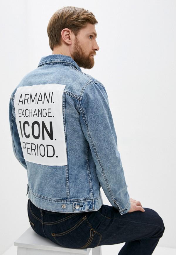 мужская джинсовые куртка armani exchange, голубая