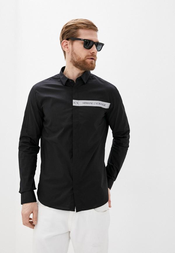 мужская рубашка с длинным рукавом armani exchange, черная