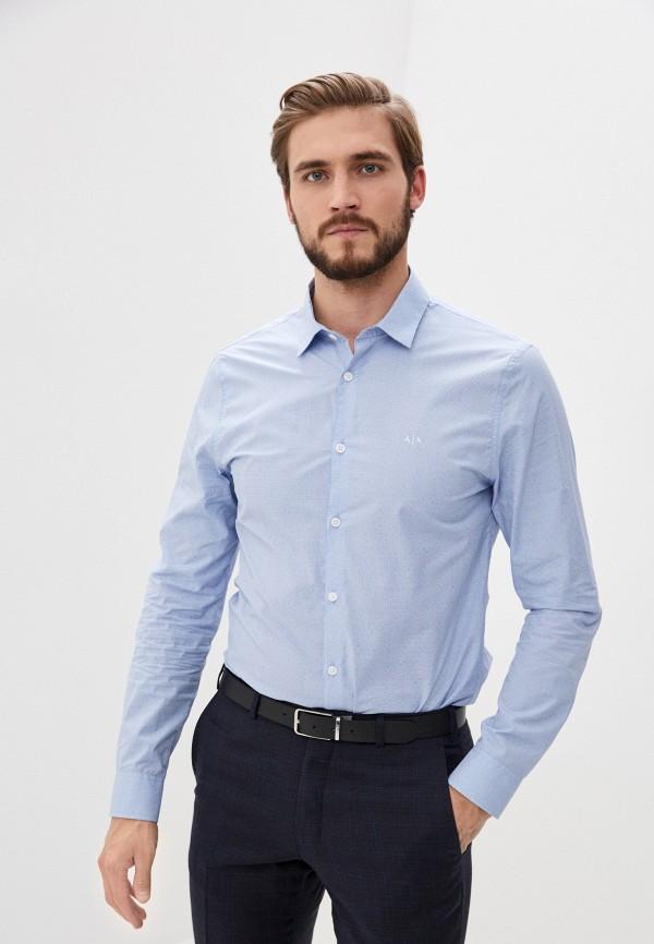 мужская рубашка с длинным рукавом armani exchange, голубая