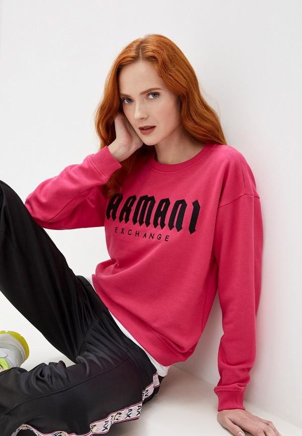 женский свитшот armani exchange, розовый
