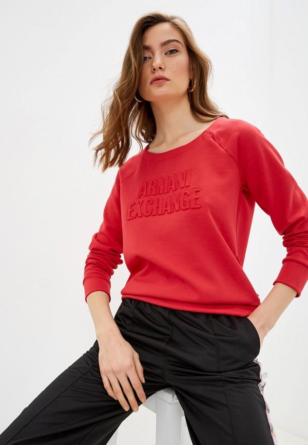 женский свитшот armani exchange, красный