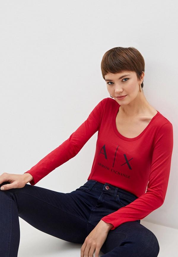 женский лонгслив armani exchange, красный