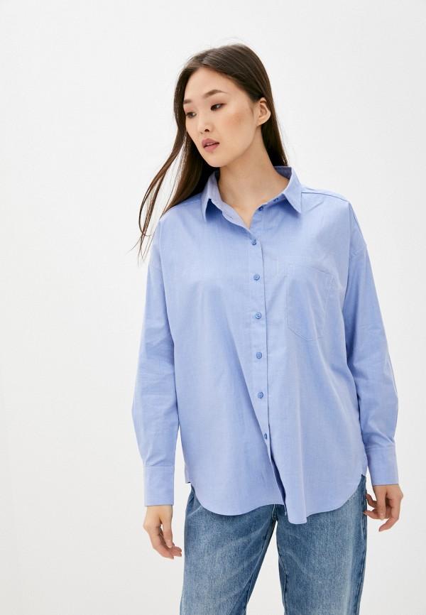 женская рубашка с длинным рукавом armani exchange, голубая