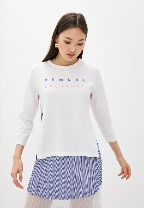 женский лонгслив armani exchange, белый