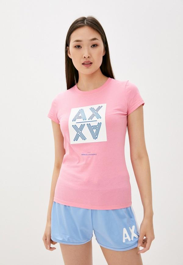 женская футболка armani exchange, розовая