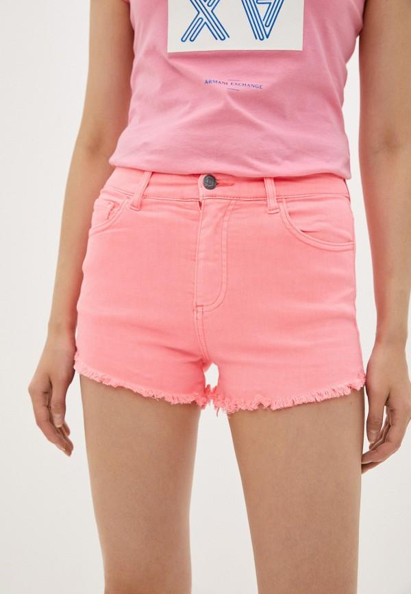 женские джинсовые шорты armani exchange, розовые
