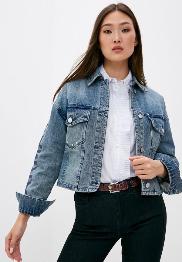 женская куртка armani exchange, синяя