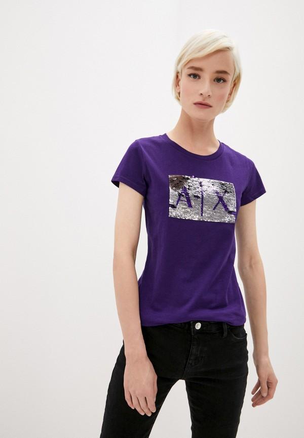 женская футболка armani exchange, фиолетовая