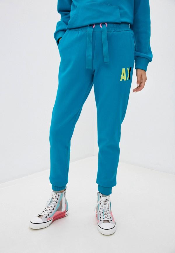 женские спортивные брюки armani exchange, бирюзовые