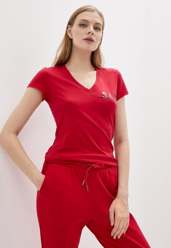 женская футболка armani exchange, красная