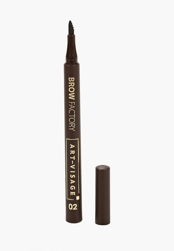 женский карандаш для бровей art-visage, коричневый
