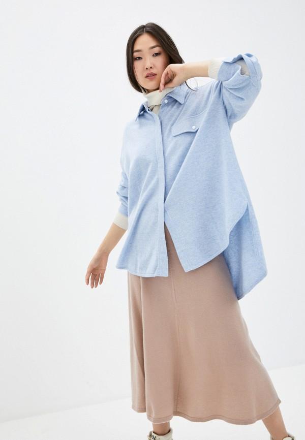 женская рубашка с длинным рукавом arch4, голубая