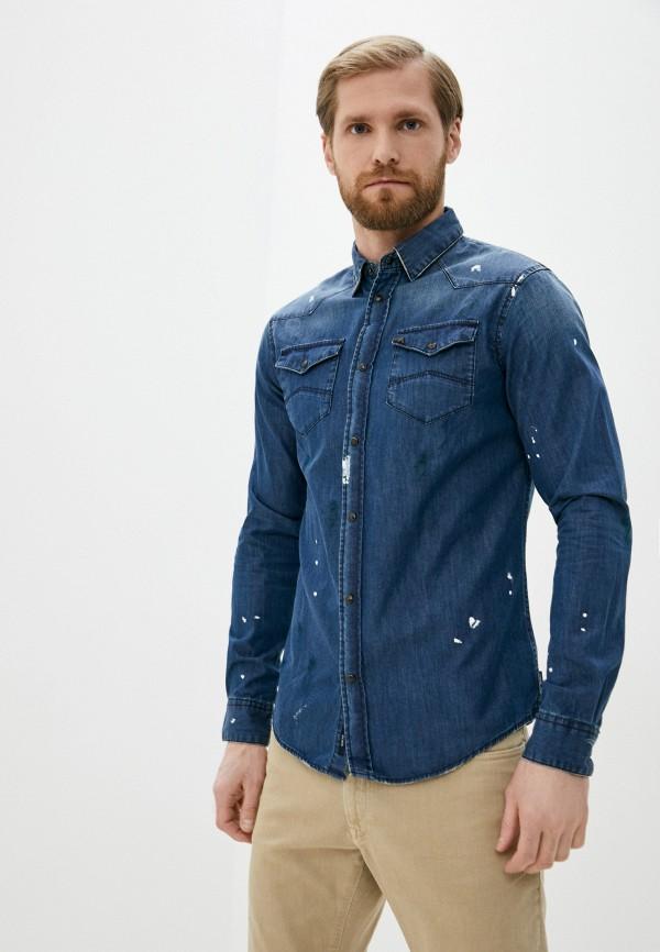 мужская джинсовые рубашка armani jeans, синяя