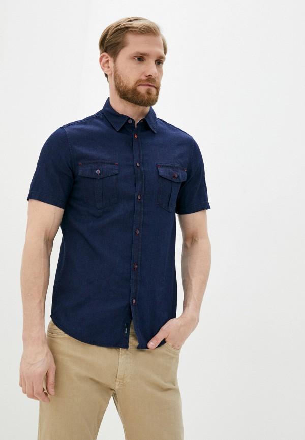 мужская рубашка с коротким рукавом armani jeans, синяя