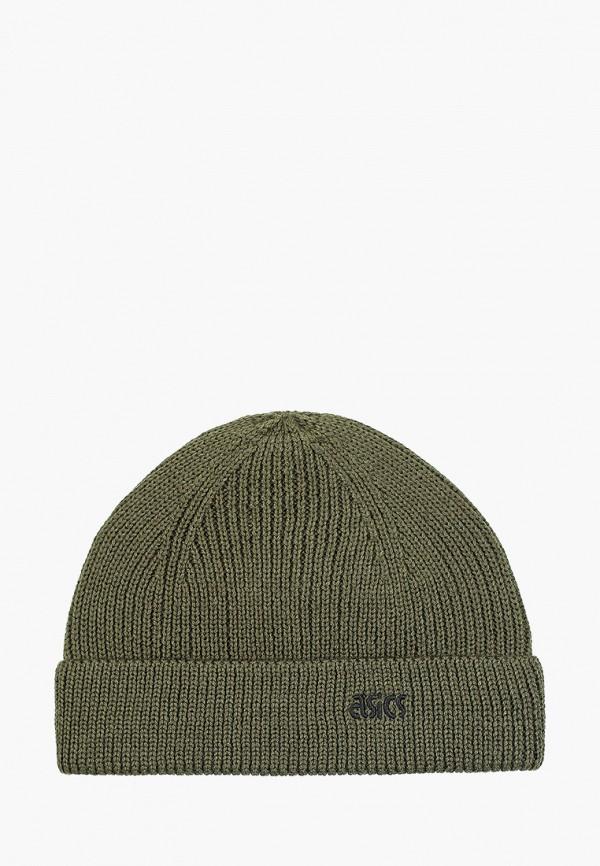 женская шапка asics, зеленая