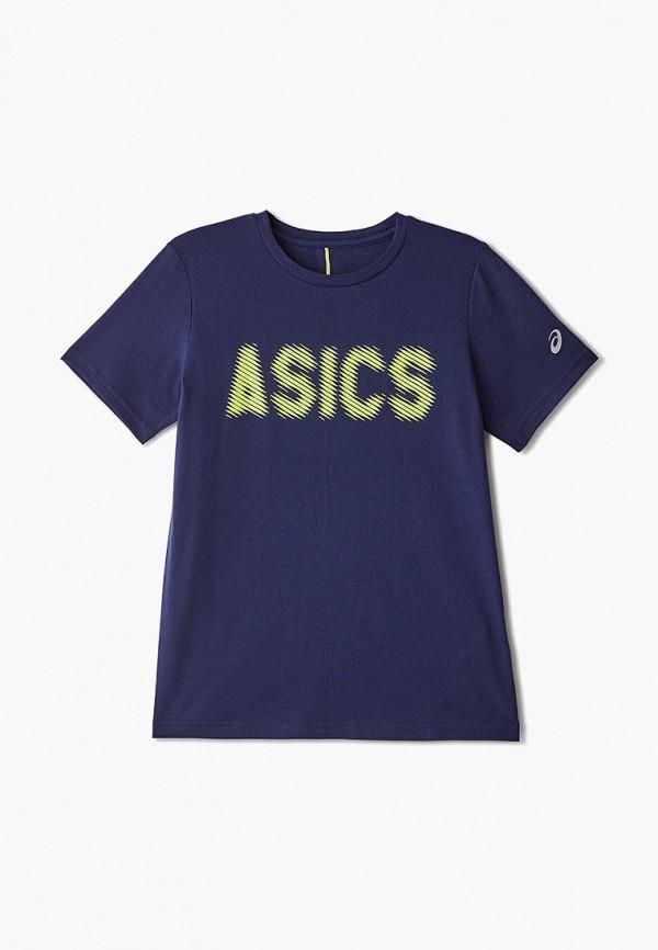 футболка asics для мальчика, синяя