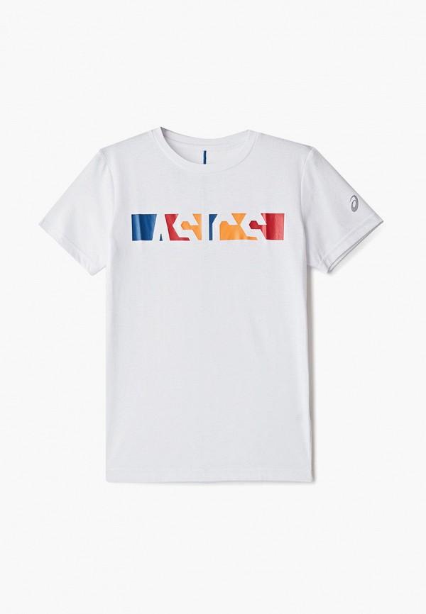 футболка asics для мальчика, белая