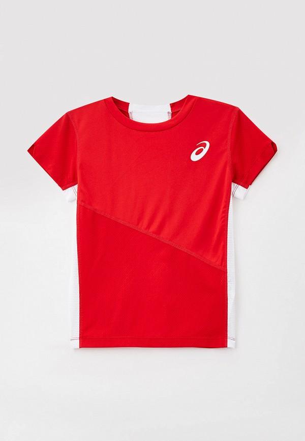 футболка с коротким рукавом asics для мальчика, красная