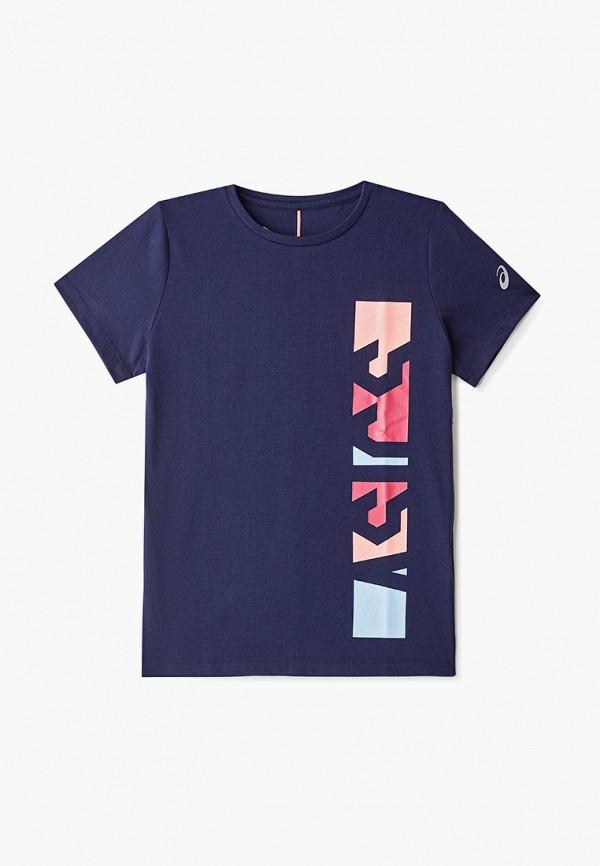 футболка asics для девочки, синяя