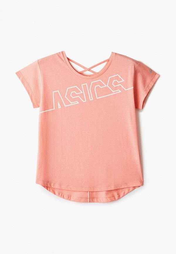 футболка asics для девочки, розовая
